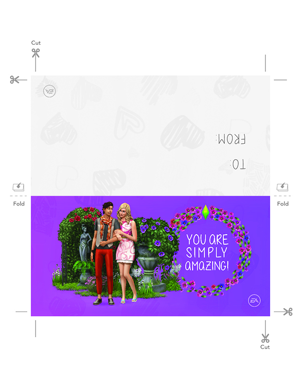 Printable Sims 4 Valentine's Day card